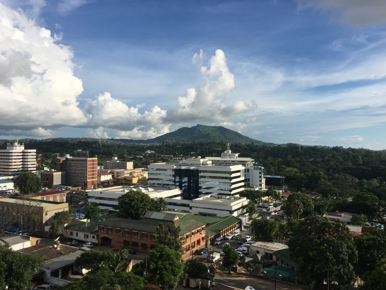 The city of Blantyre, Michelle Chikaonda's home city, from a hotel rooftop.