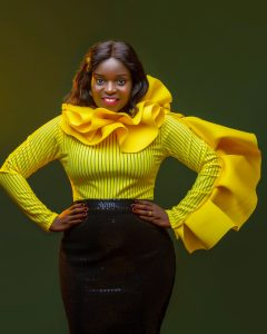 Eleanor Nabwiso. Dressed by Abbas Kaiz Divo. Photo credit: Fred Bugembe/Tonic William of Timeline Studios.